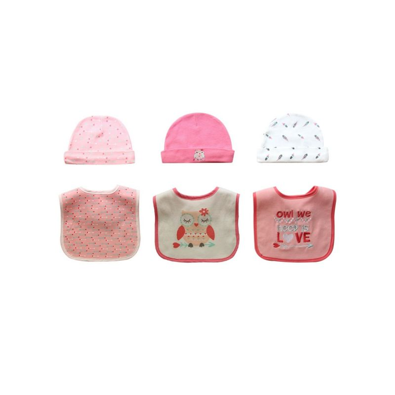 6-PACK Newborn Infant Cartoon Hat & Bib Set