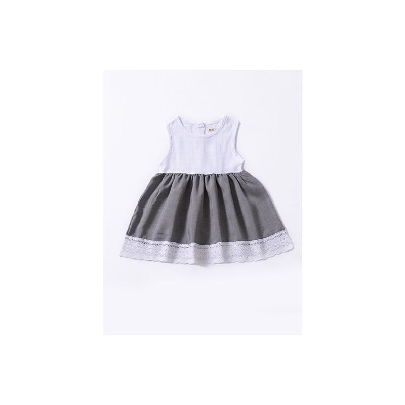 Hollow Out Lace Trimmed Sleeveless Baby Summer Dress
