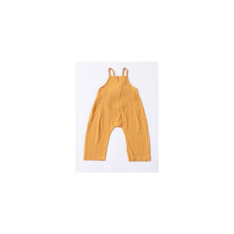 Toddler Infant Girl Yellow Backless Suspender Pants Summer Kids Siamese Trousers