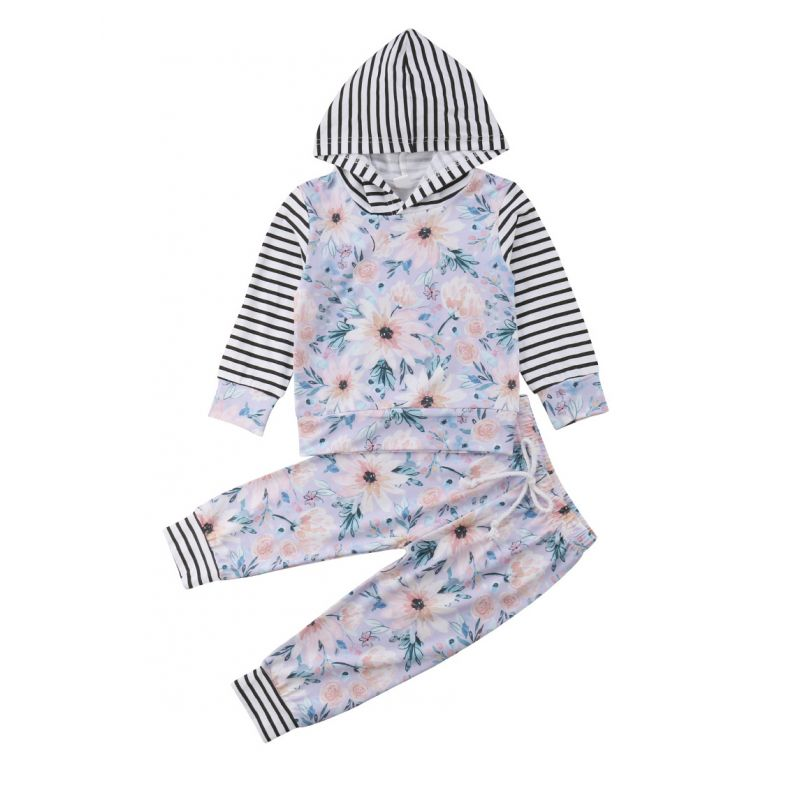 2-piece Spring Baby Girl Striped Flower Hoodie Pants Set