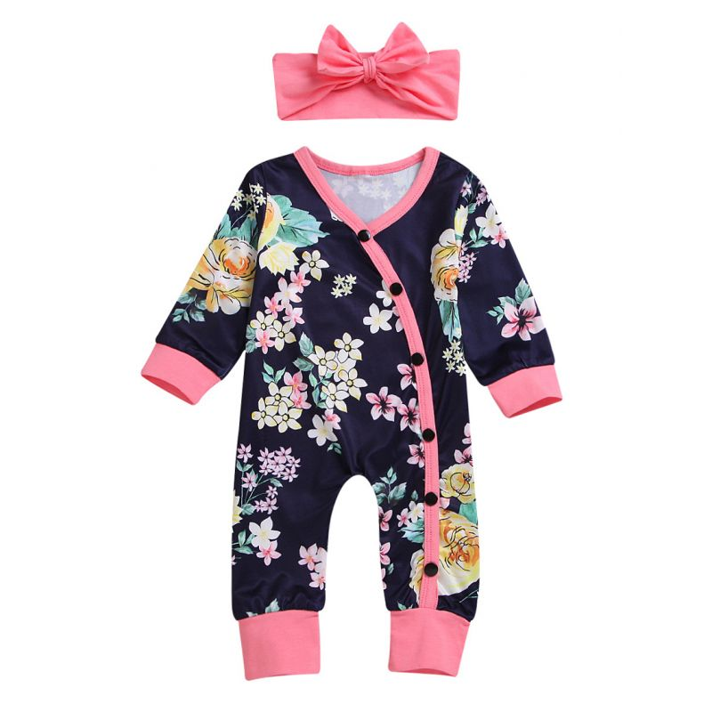 Spring Infant Girl Floral Buttoned Sleepsuit with Pink Bow Headband