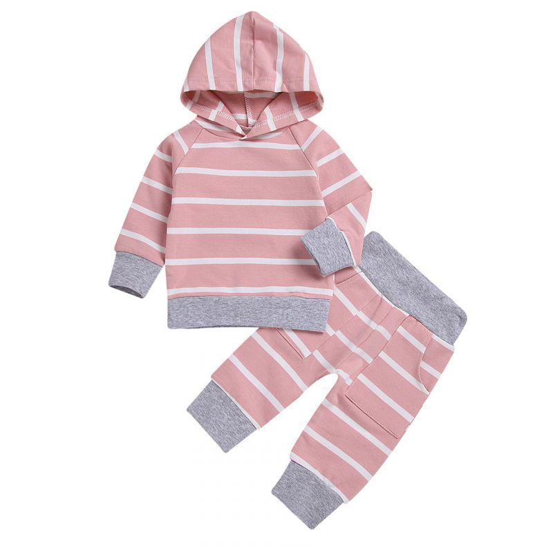 2-piece Spring Baby Girl Casual Baby Tracksuits Striped Hoodie+Pants