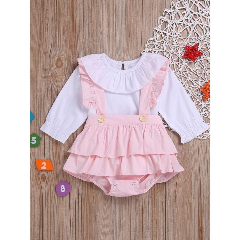 2-Piece Spring Spanish Style Toddler Infant Girl Ruffle Collar Button Up White T-shirt Blouse + Pink Ruffle Braces Shorts