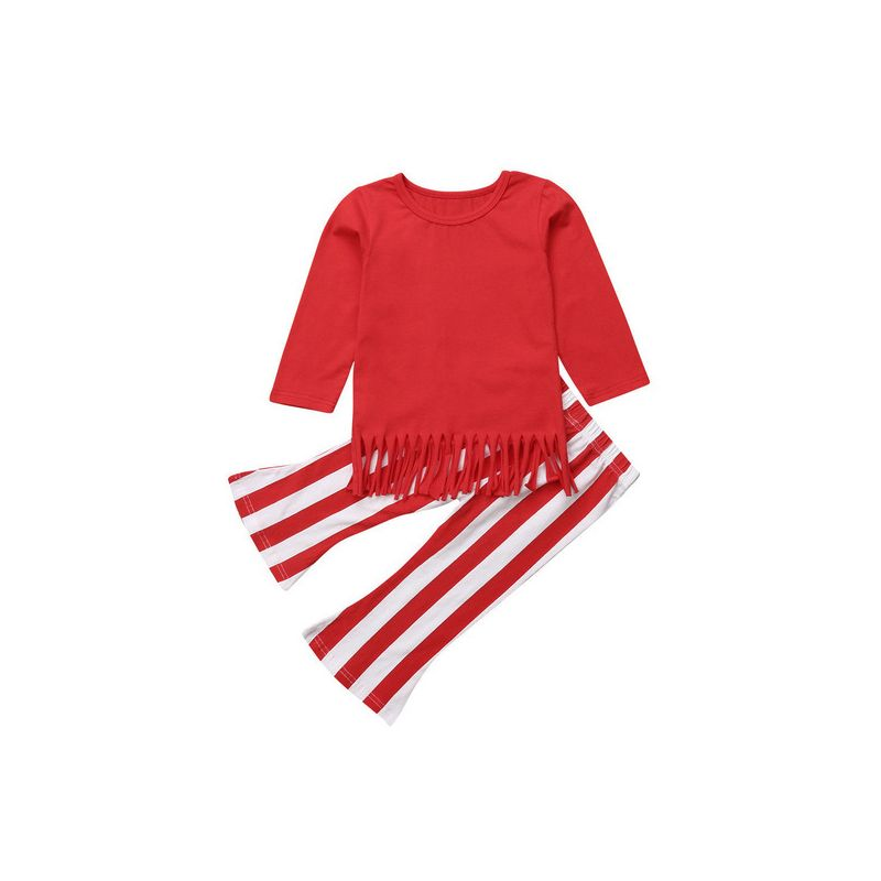 2-Piece Spring Toddler Big Girl Clothes Set Red Tassel Trimmed-Hem T-shirt+Red & White Stripe Bell-bottom Trousers