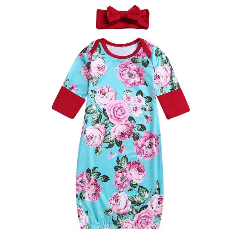 Half Sleeve Flower Infant Sleep Dress with Red Bowknot Headband
