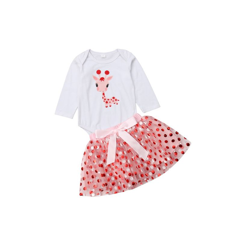 2-Piece Spring Infant Girl Clothes Set Giraffe Onesie +Bow Polka Dots Skirt