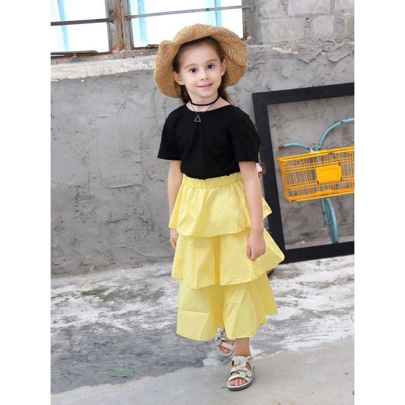 2-piece Summer Kids Clothes Outfits Set Black Backless Bow T-Shirt +Yellow Tiered Skirt