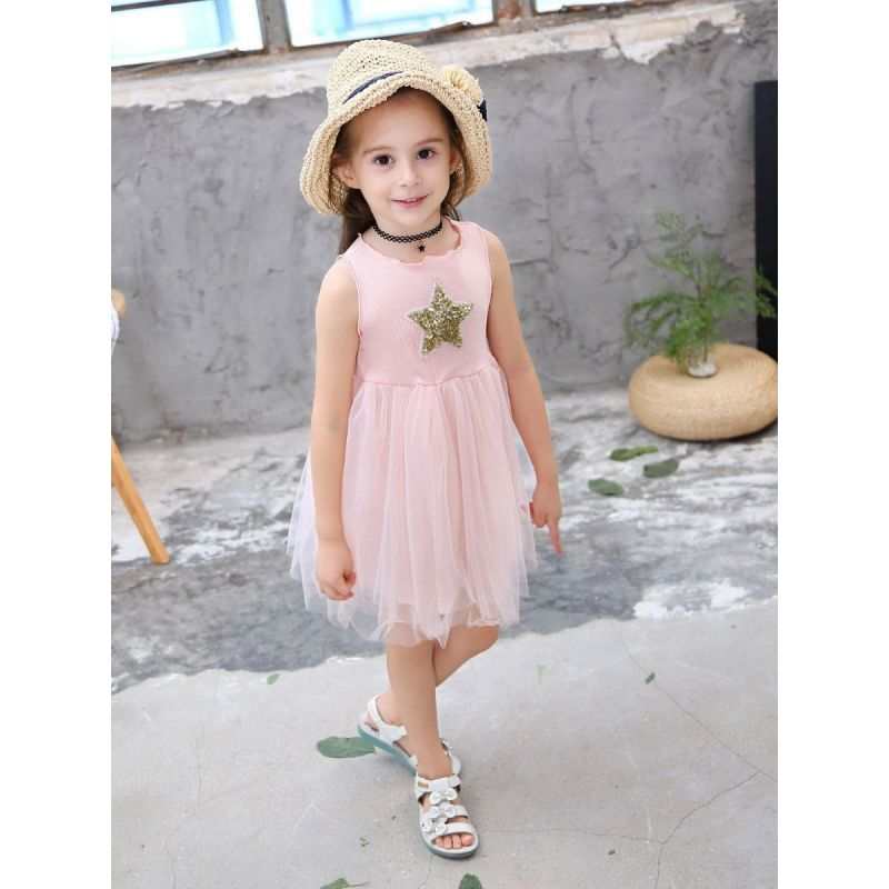 Kids Sequin Star Tulle Patchwork Sleeveless Summer Dress