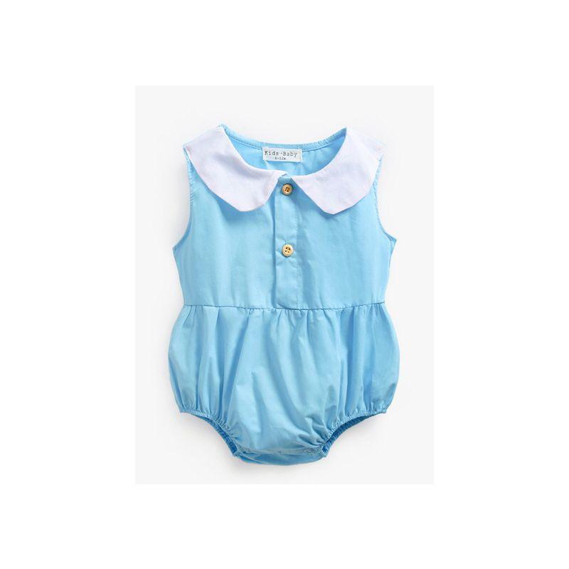 Summer Peter Pan Collar Sleeveless Baby Girl Bodysuit Infant Cotton Onesie