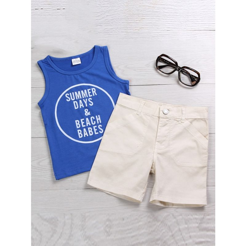 2-piece Toddler Infant Boys Summer Casual Clothes Outfits Set SUMMER DAYS & BEACH BABES Letters Print Tank Tops+Shorts
