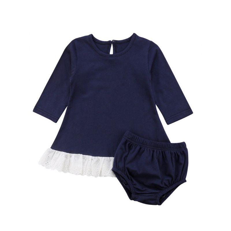 2-Piece Spring Infant Girl Dress Set Lace-Hem Casual Shift Dress + Underpants