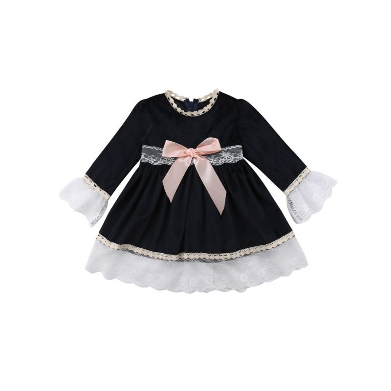 Stylish Spring Toddler Infant Girl Bow Bell Sleeve Lace-trimmed Princess Dress