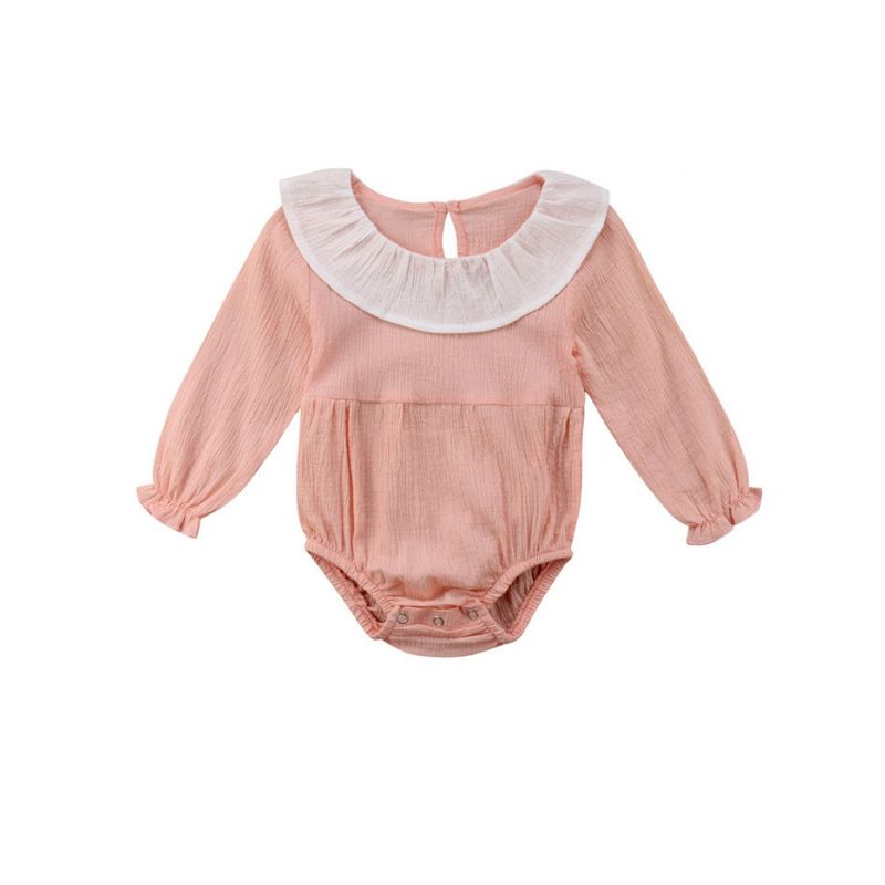 Ruffle Collar Infant Girl Long-sleeved Bodysuit Onesie