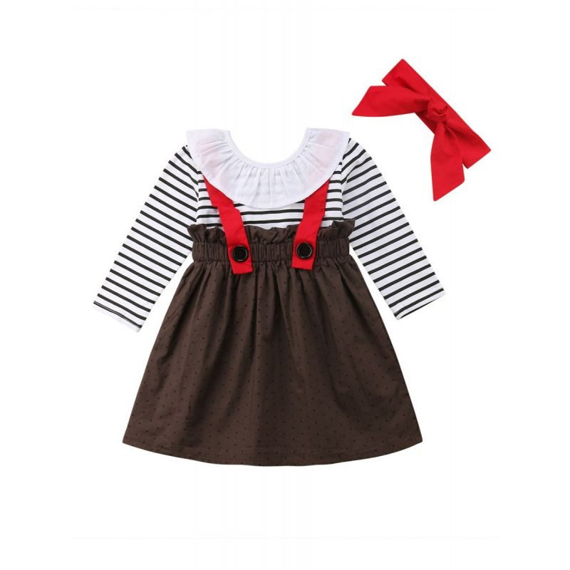 Spring Toddler Baby Girl Fake Two Piece Ruffle Collar Dress with Red Bowknot Headband