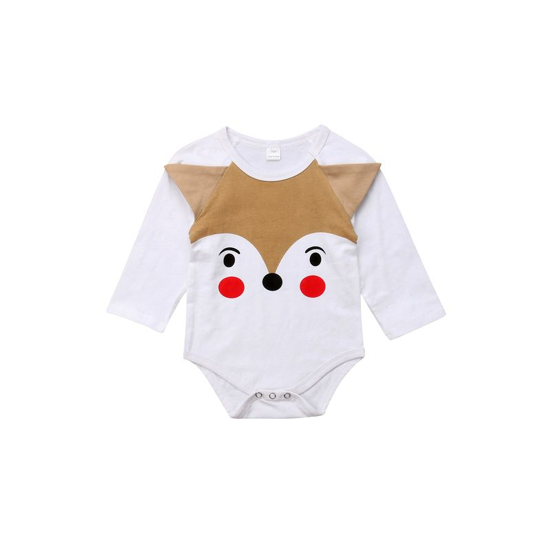Cute Cartoon Fox Long-sleeved Unisex Infant Bodysuit Romper