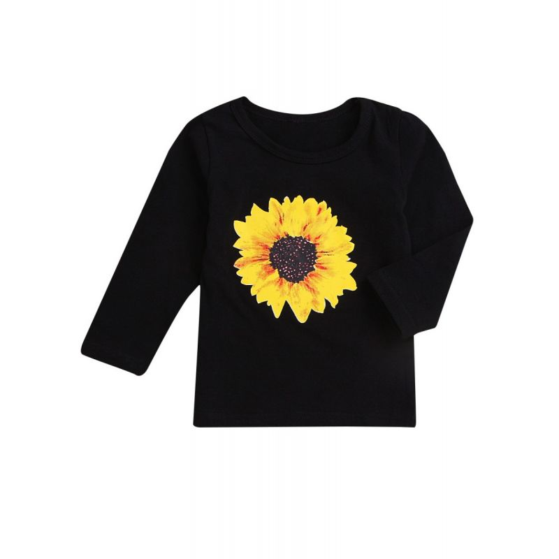 Spring Sunflower Long-sleeved Black Casual Pullover T-shirt for Toddler Kids
