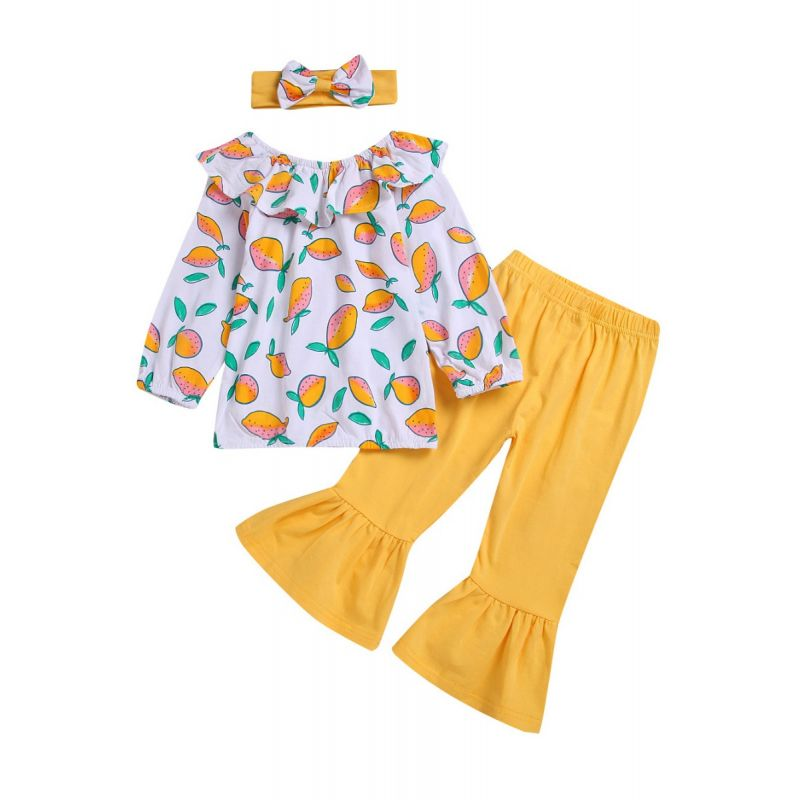 3-piece Spring Infant Little Girl Clothes Outfits Set Lemon Print Ruffle Collar Blouse+Yellow Flared Trousers +Headband