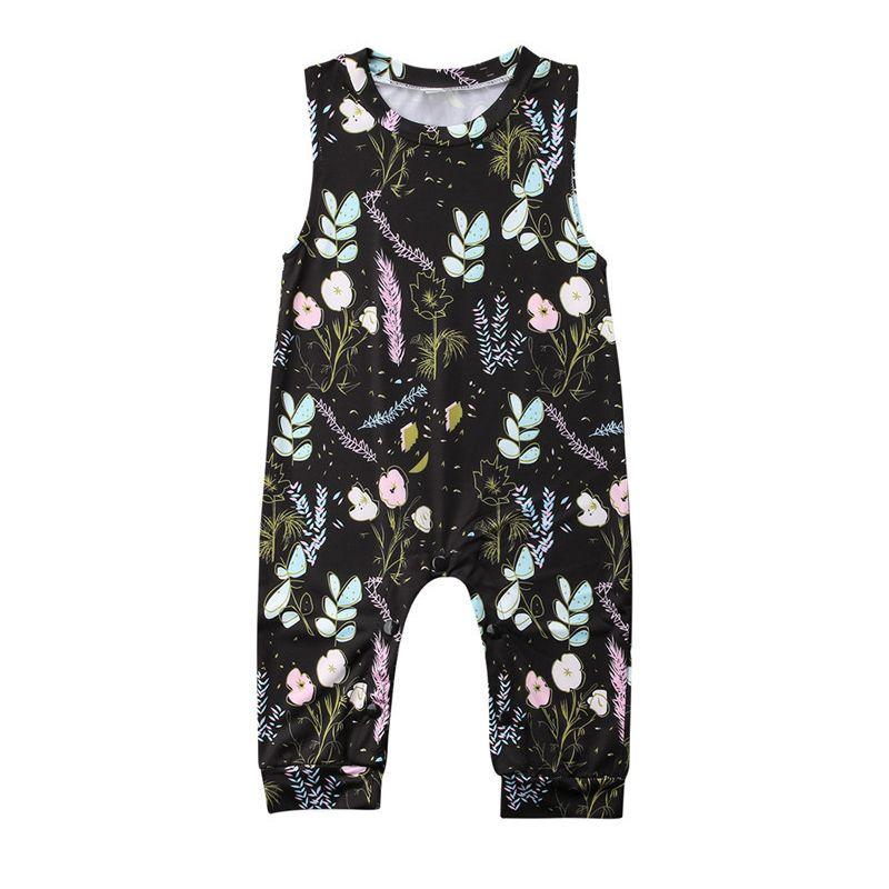 Infant Girl Sleeveless Flower Print Romper Overalls
