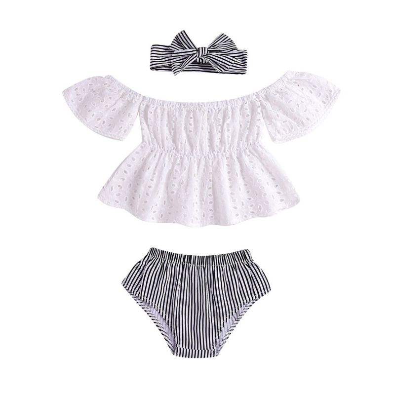 3-piece Infant Girl Summer Clothes Outfits Set White Hollow Out Blouse+Striped Panties+Headband