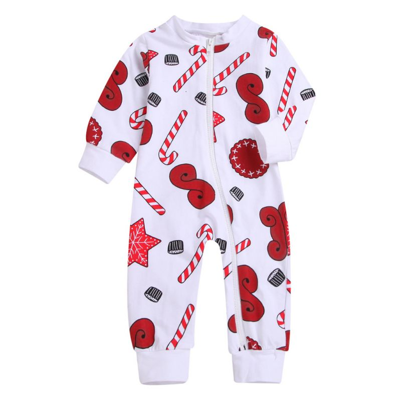 Spring Printed Zip Baby Overalls Infant Jumpsuit