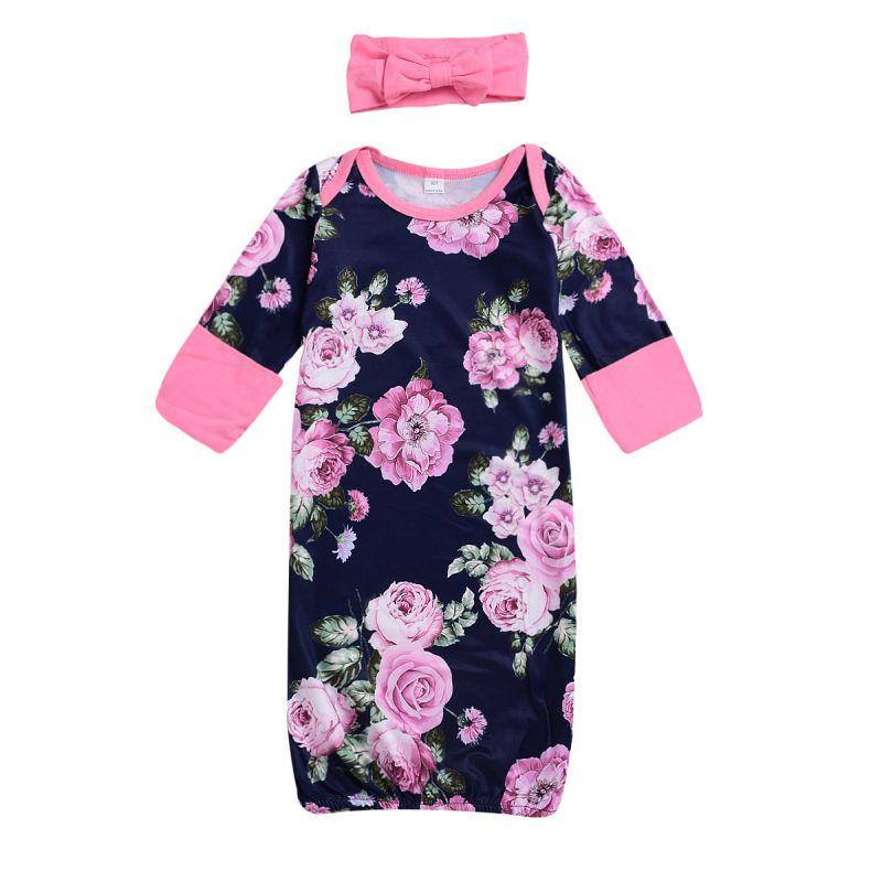 Flower Half Sleeve Baby Sleep Gown with Pink Headband Infant Homewear
