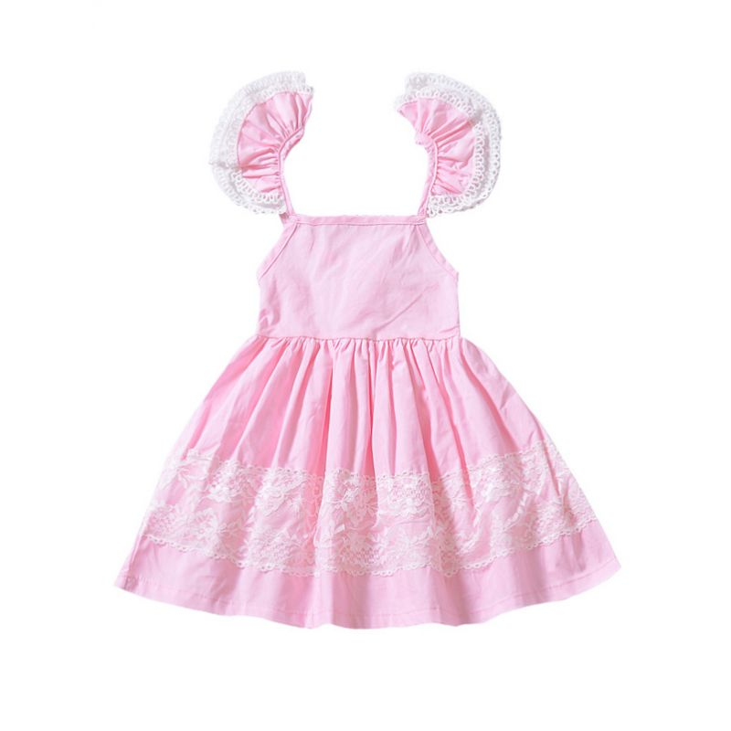 Summer Flutter Sleeve Flower Lace Trimmed Backless Princess Dress