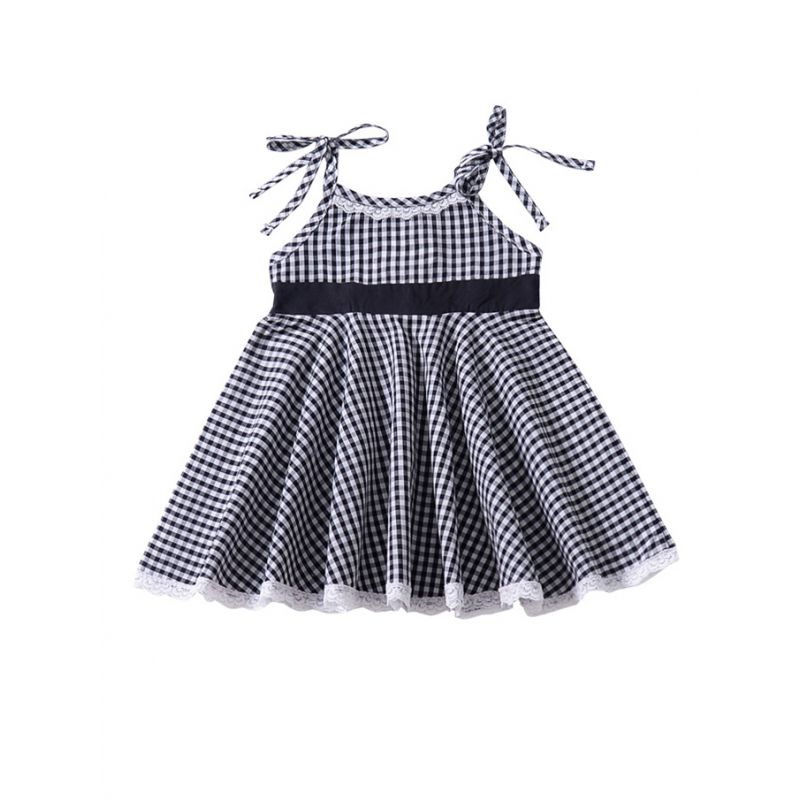 Toddler Baby Girl Checked Lace-hem Sleeveless Lace-up Dress