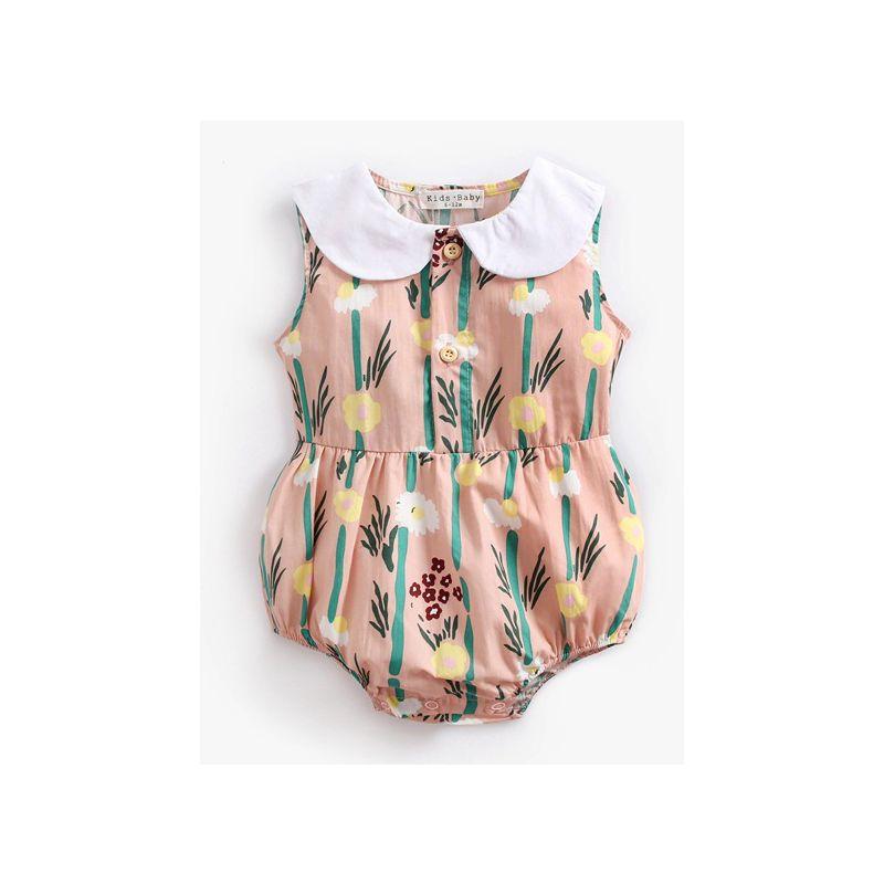 Summer Newborn Infant Girl Peter Pan Collar Floral Sleeveless Bodysuit Baby Cotton Romper