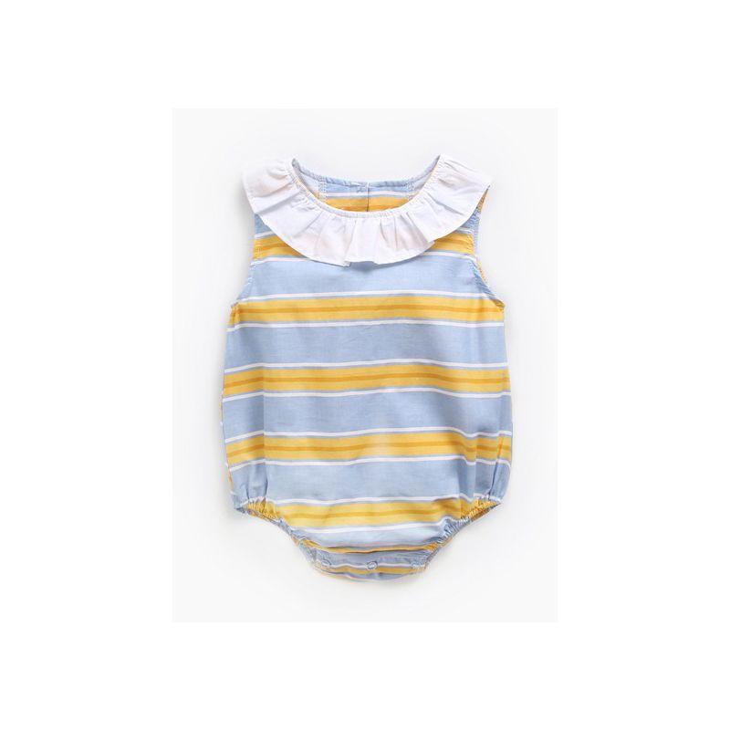 Newborn Baby Girl Ruffle Collar Striped Sleeveless Onesie Bodysuit