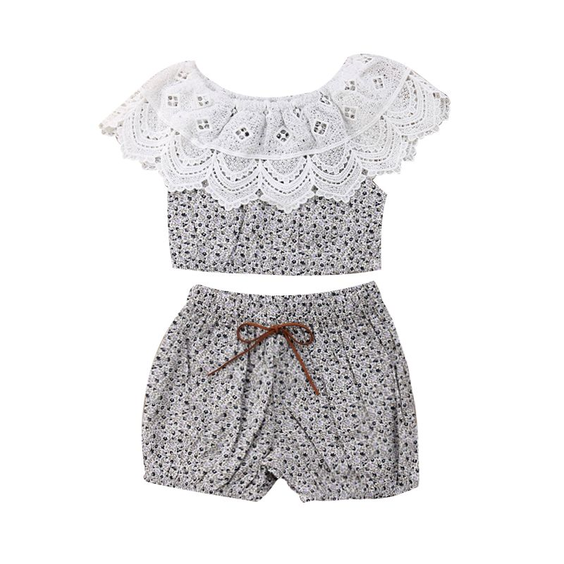 2-piece Infant Girl Summer Clothes Outfits Set Hollow Out Lace Short Top+Floral Shorts