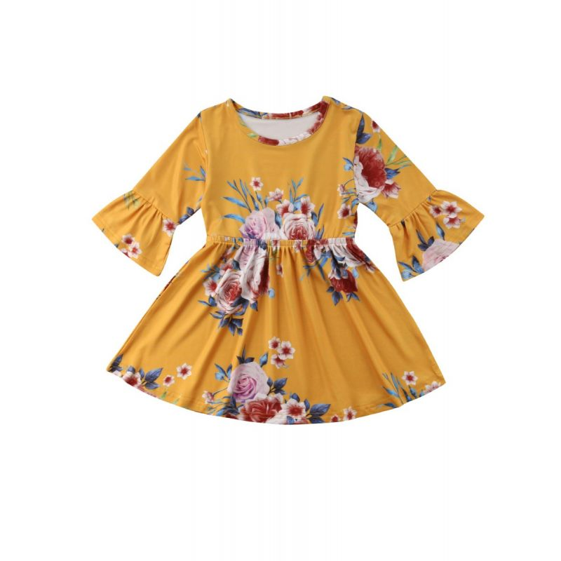 Spring Baby Little Girl Vintage Bell-sleeved Flower One-Piece Dress