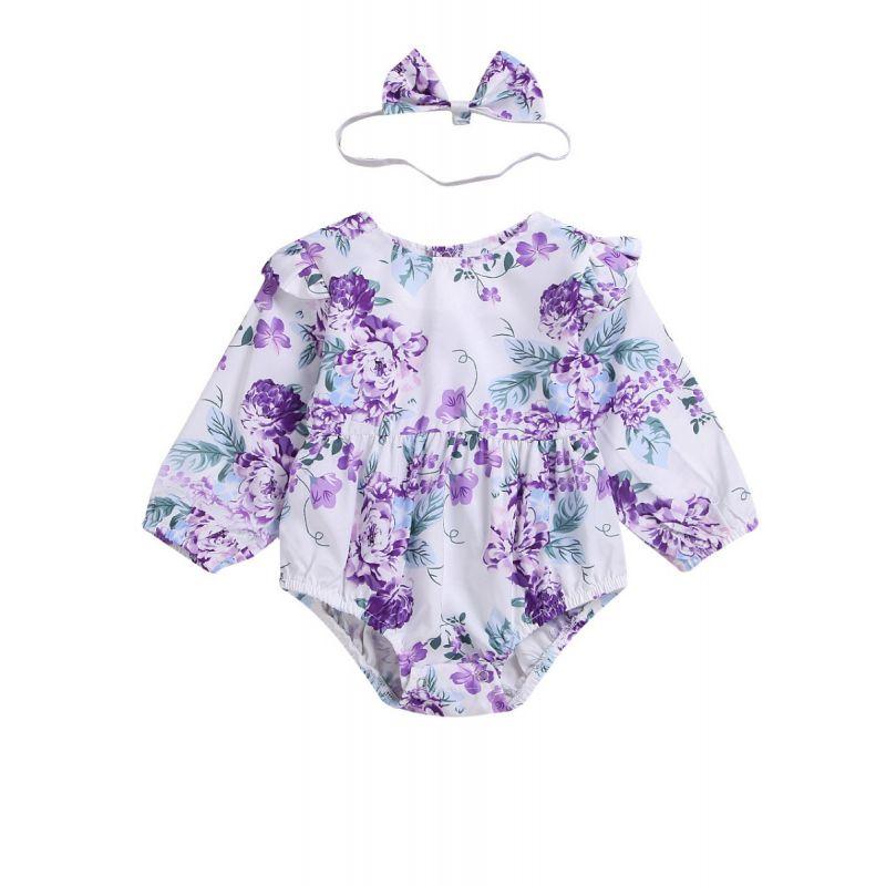 Long Flutter Sleeve Baby Girl Purple Flower Bodysuit with Headband