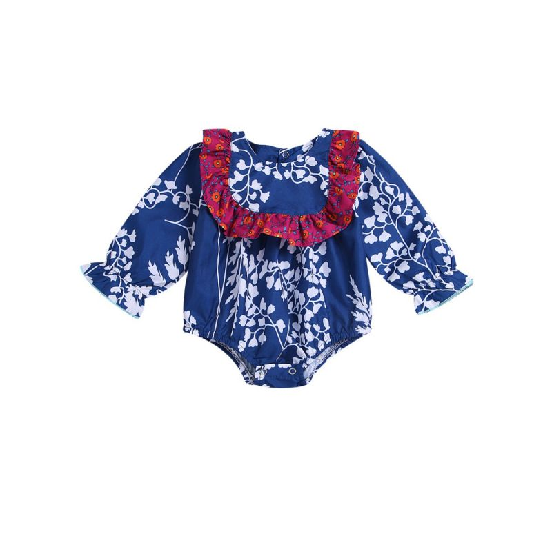 Cute Ruffle Floral Print Infant Girl Bodysuit Onesie