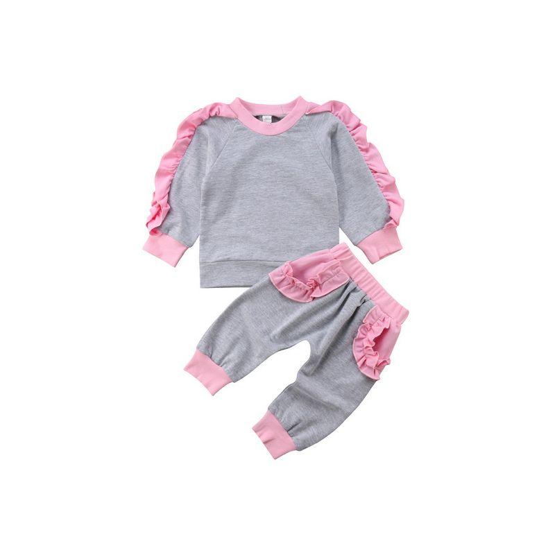 2-piece Infant Little Girl Ruffle Pullover+ Pants Set