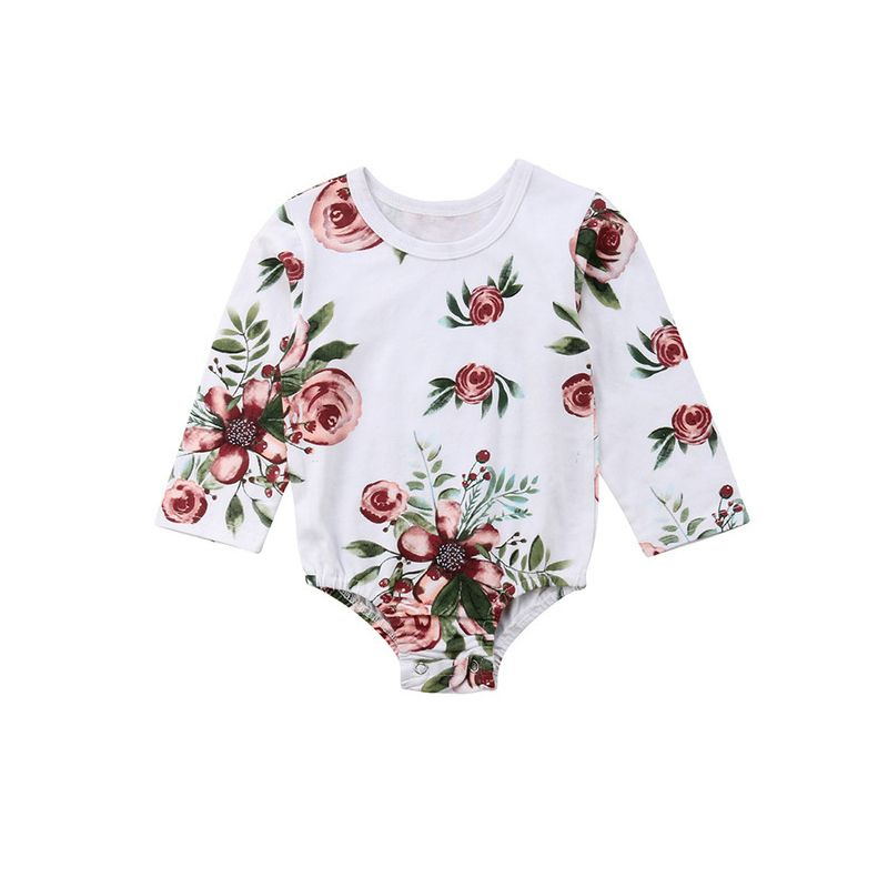 Long-sleeved Flower Print Baby Girl Bodysuit Onesie