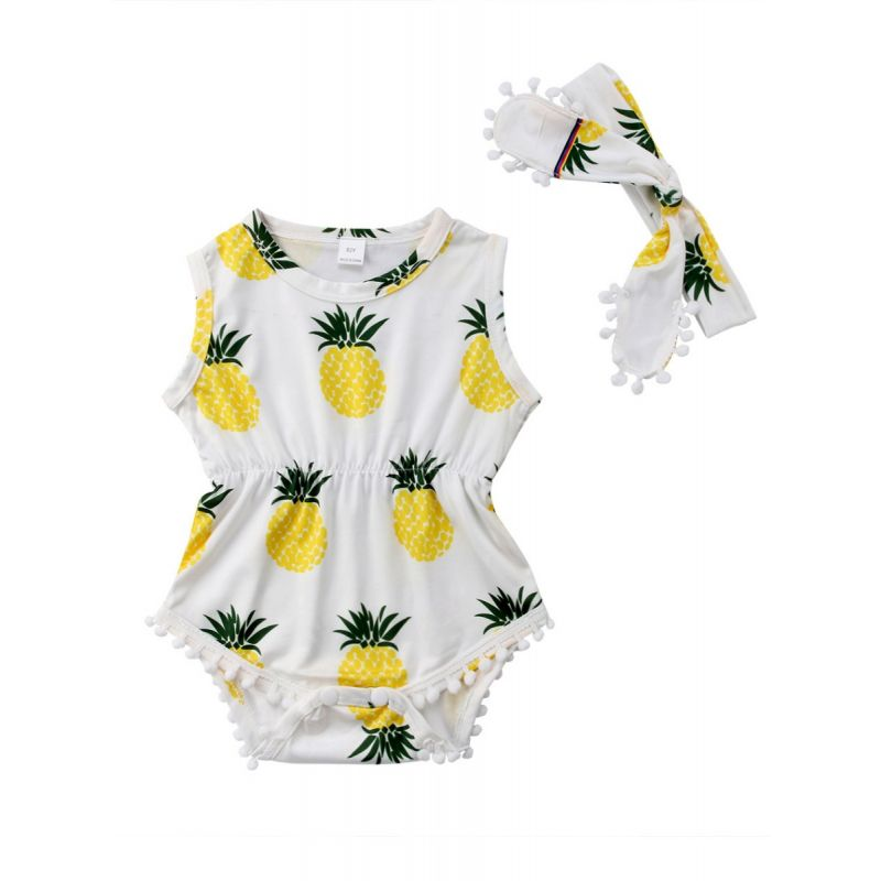 Summer Pineaple Print Pom Pom Trimmed Sleeveless Baby Onesie with Headband