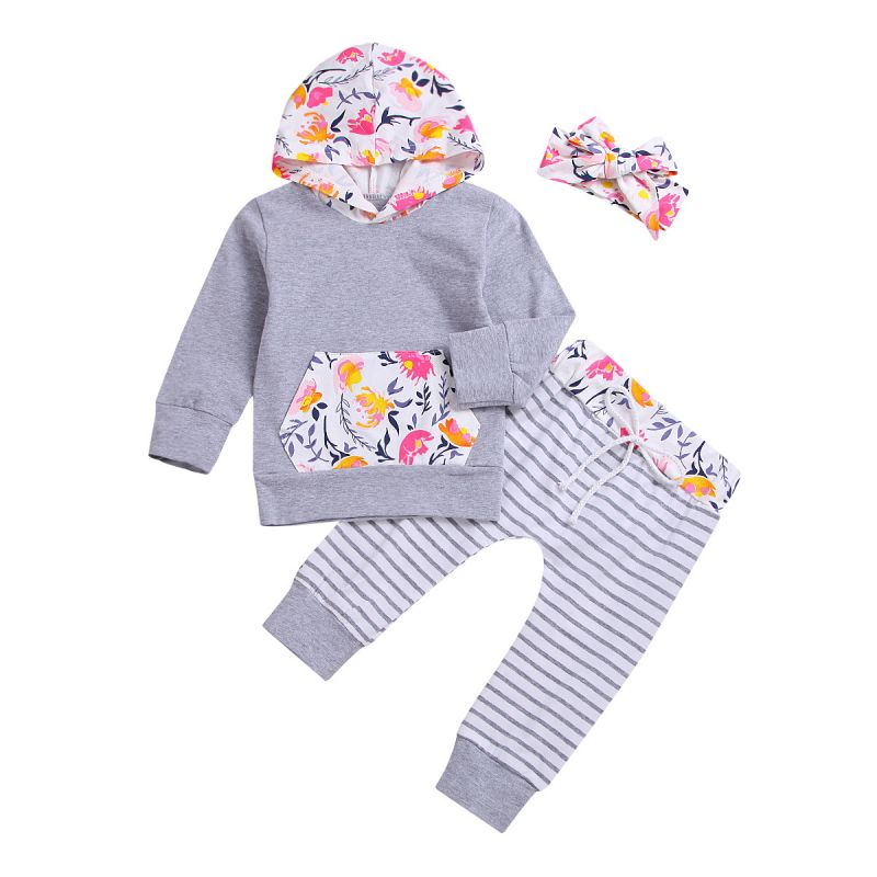 3-piece Spring Baby Girl Flower Hoodie +Striped Pants+Floral Headband