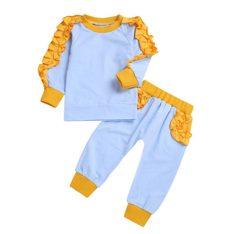 2-piece Spring Infant Toddler Girl Ruffle Pullover+Trousers Set