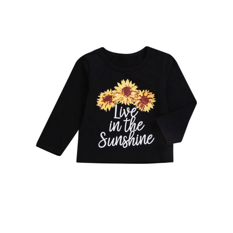 Baby Little Girl Long-sleeved Live in the Sunshine Letters Flower Print T-shirt for Spring