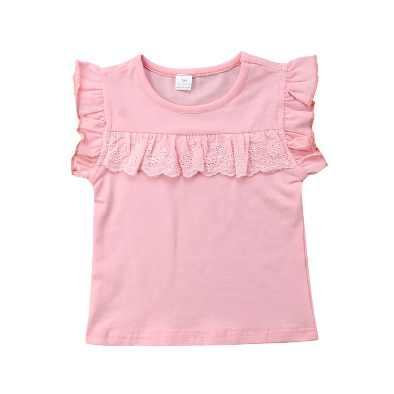 Baby Girl Pink Short Flutter Sleeve T-shirt Tank Top