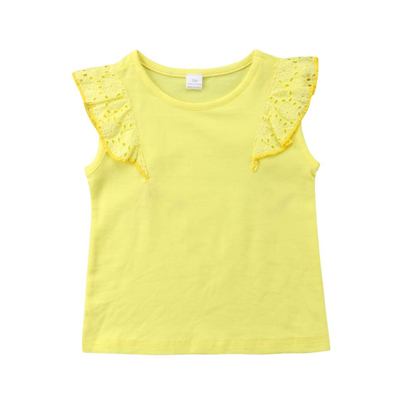 Summer Infant Girl Yellow Short Flutter Sleeve T-shirt Top
