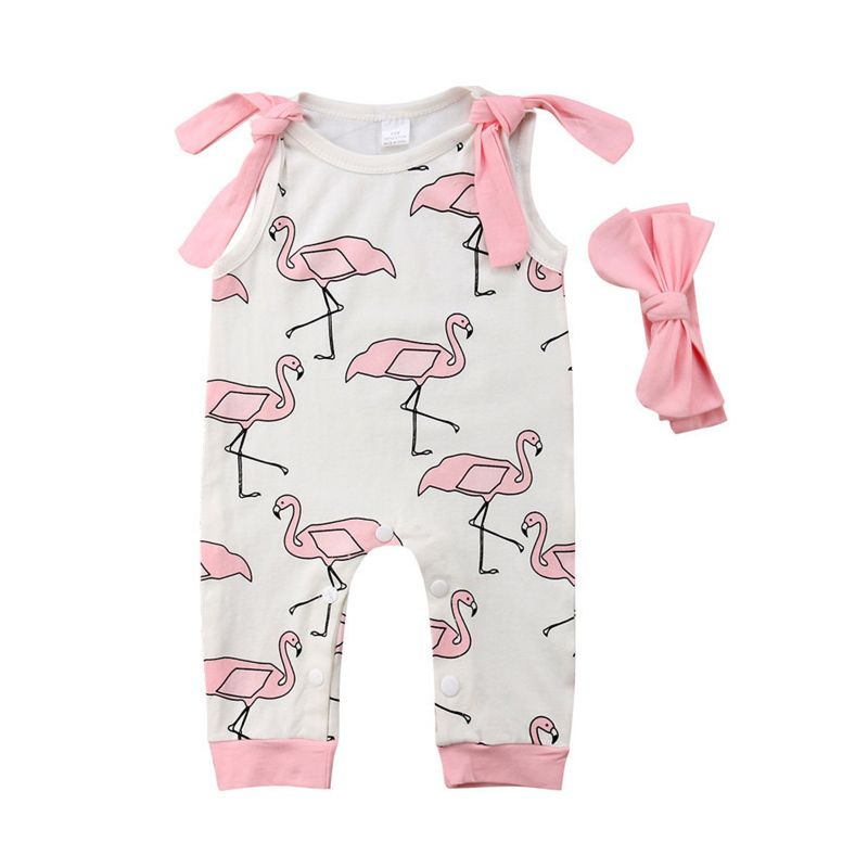 Cartoon Red-crowned Crane Print Baby Girl Sleeveless Overalls with Pink Headband
