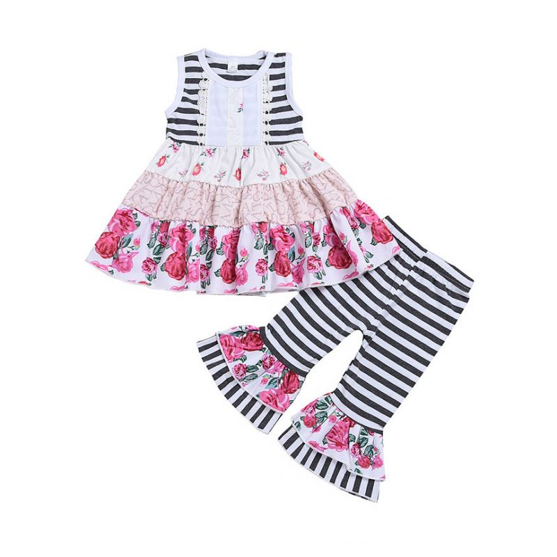 2-piece Sleeveless Flower Striped Tunic Dress Top + Striped Bell-Bottoms