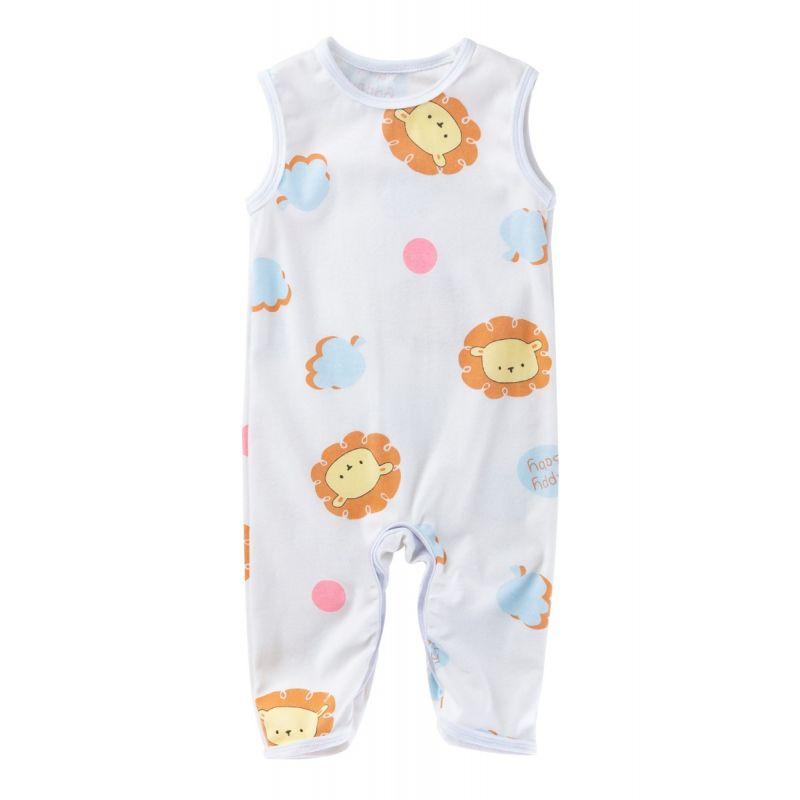 Summer Cartoon Lion Print Unisex Baby Sleeveless Sleepsuit Overalls