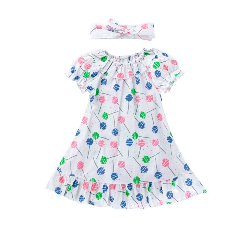 Summer Baby Little Girl Lollipop Print Ruffle Dress with Headband