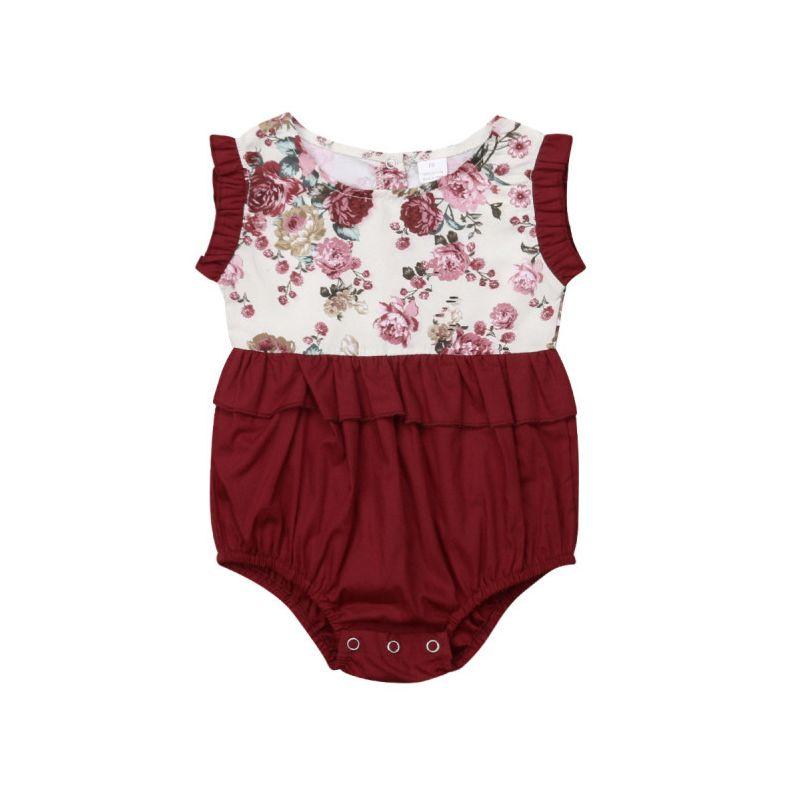 Cute Baby Girl Flower Print Summer Bodysuit Onesie