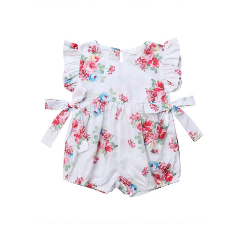 Summer Baby Girl Flower Print Short Flutter Sleeve Bow Bodysuit