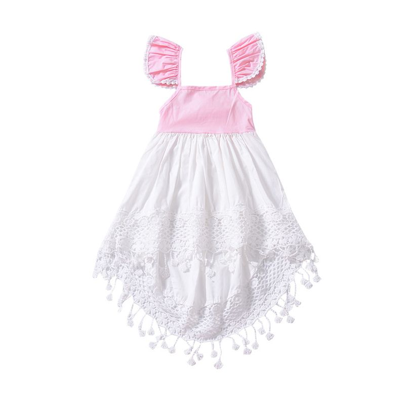 Summer Baby Little Girl Flutter Sleeve Tassels Trimmed Asymmetrical Hemline Dress