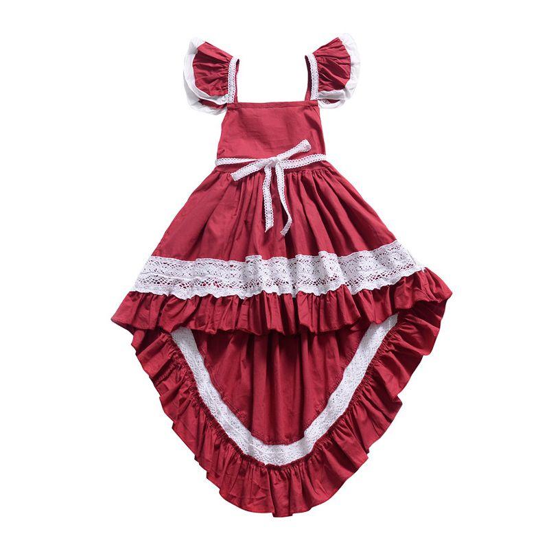 Stylish Baby Little Girl  Flutter Sleeve Hollow Out Lace Trimmed Asymmetrical Hemline Dress
