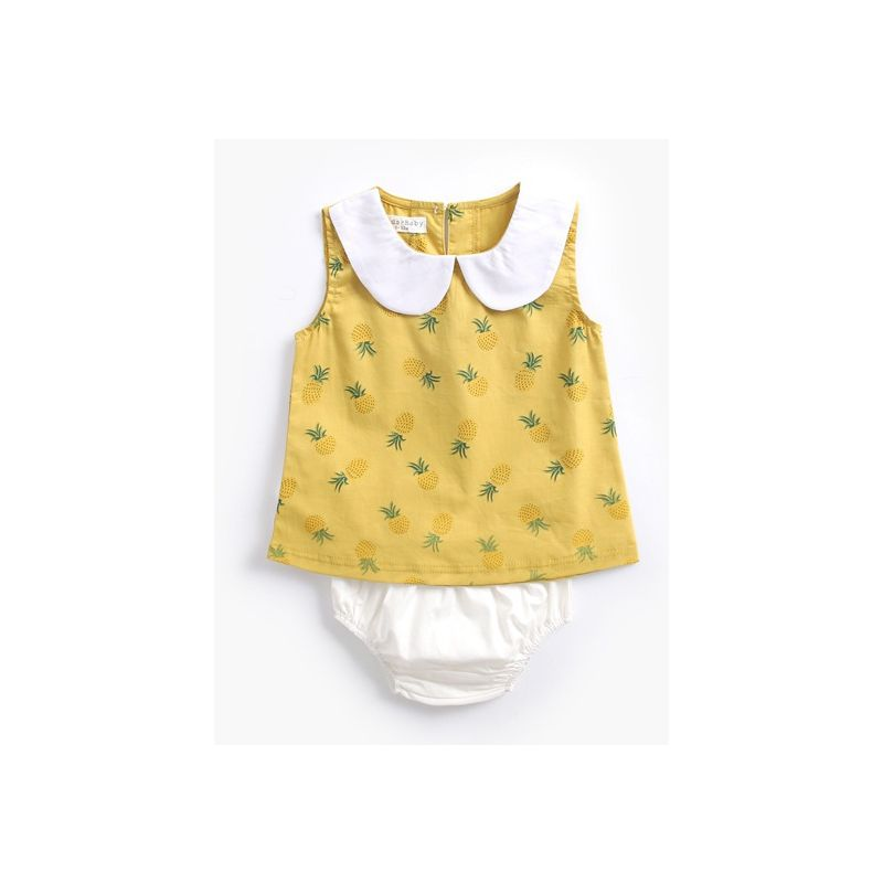 2e7a415ff 2-piece Summer Baby Girl Clothes Outfits Set Peter Pan Collar Sleeveless  Pineapple Print Tank